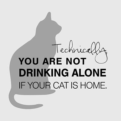 Typography Digital Art - Drinking With Cats by Nancy Ingersoll