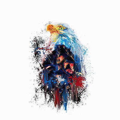 Drippy Jazzy Bald Eagle Colorful Bird Art By Jai Johnson Print by Jai Johnson