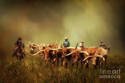 Cattle Drive Digital Art - Driving The Herd by Priscilla Burgers