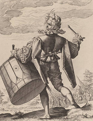 Jacques Drawing - Drummer by Hendrik Goltzius