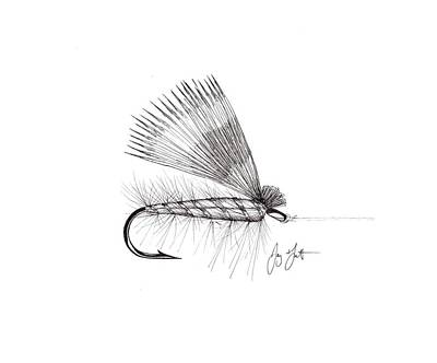 Bass Fishing Drawing - Dry Fly by Jay Talbot