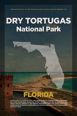 National Parks Mixed Media - Dry Tortugas National Park In Florida Travel Poster Series Of National Parks Number 19 by Design Turnpike