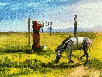 Zebra Painting - Drying-up by Leonardo Digenio