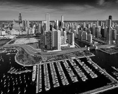 Helicopter Photograph - Du Sable Harbor Chicago by Steve Gadomski
