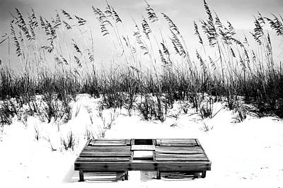 Travel Photograph - Dual Wooden Tanning Beds On White Sand Dune Destin Florida Black And White Digital Art by Shawn O'Brien