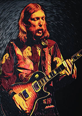 Jazz Digital Art - Duane Allman by Taylan Apukovska