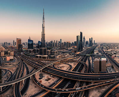 High Tower Photograph - Dubai Skyline Panorama by Jean Claude Castor