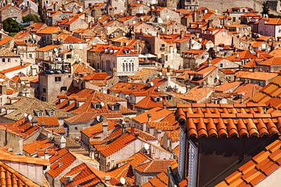 Dubrovnik Photograph - Dubrovnik Orange Old Town Rooftops by Sandra Rugina