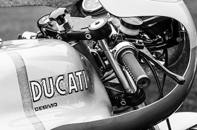 Bicycle Photograph - Ducati Desmo Motorcycle -2127bw by Jill Reger