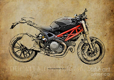 Garage Mixed Media - Ducati Monster 796 2013 by Pablo Franchi