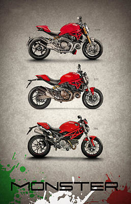 Monsters Photograph - Ducati Monster Trio by Mark Rogan