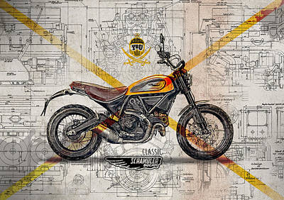 Ducati Scrambler Classic Print by Yurdaer Bes