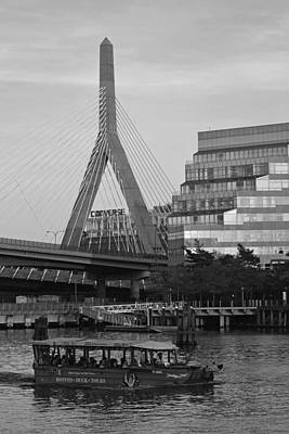 Conversing Digital Art - Duck Boat In Front The Lenny Zakim Bridge Boston Ma Black And White by Toby McGuire