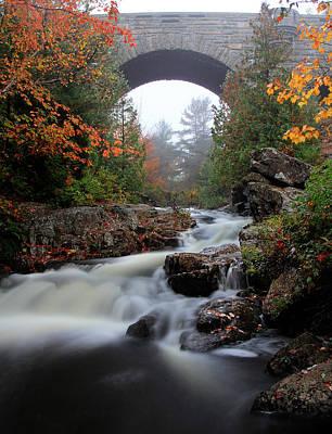 Duck Brook Bridge In The Rain Print by Dave Storym