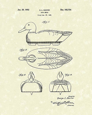 Wood Duck Drawing - Duck Decoy 1952 Patent Art by Prior Art Design