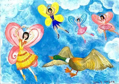 Sue Burgess Painting - Duck Meets Fairy Ballet Class by Sushila Burgess