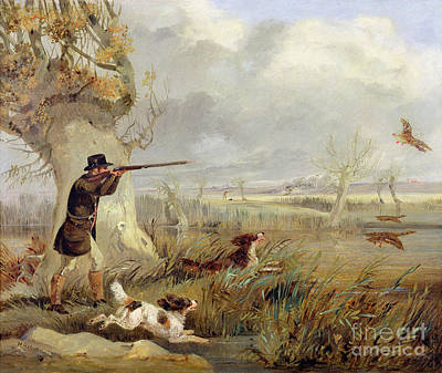 Aiming Painting - Duck Shooting  by Henry Thomas Alken