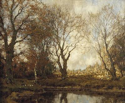 Arnold Painting - Ducks Near A Pond In Autumn by Arnold Marc Gorter