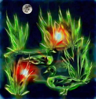 Digital Art - Ducks Under The Moon by Mario Carini