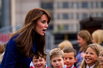 Duke And Duchess Of Cambridge Prince William And Kate Middleton Visit Dundee Print by Euan Donegan