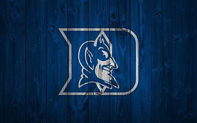Basketball Mixed Media - Duke Blue Devils Barn Door by Dan Sproul