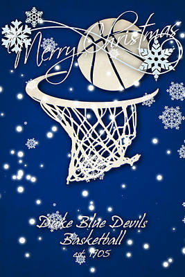 Duke Blue Devils Christmas Card 2 Print by Joe Hamilton