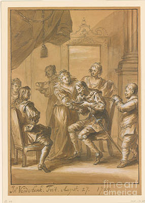 Don Quixote Painting - Duke Maids Lathering Don by John Vanderbank