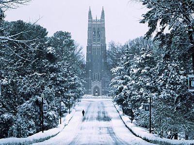 Duke Photograph - Duke Snowy Chapel Drive by Duke University