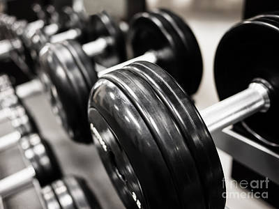 Dumbbell Weights Rack At A Healthclub  Gym  Print by Paul Velgos