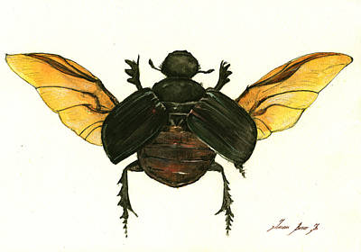 Beetle Painting - Dung Beetle by Juan Bosco