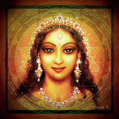 Durga In The Sri Yantra Print by Ananda Vdovic