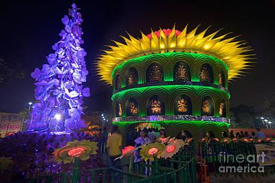 Goddess Durga Photograph - Durga Puja Pandal Decorated Temporary Temple Kolkata At Night India by Rudra Narayan  Mitra