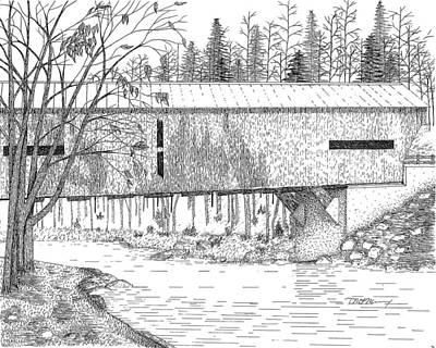 Covered Bridge Drawing - Durgin Bridge by Tim Murray