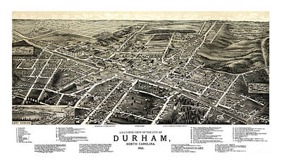 Vintage Map Painting - Durham - North Carolina - 1891 by Pablo Romero