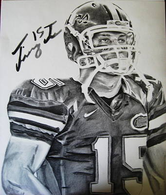 Tim Tebow Drawing - During The Game by Jenna McMullins