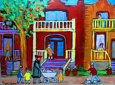 Montreal Street Life Painting - Durocher Street Montreal by Carole Spandau