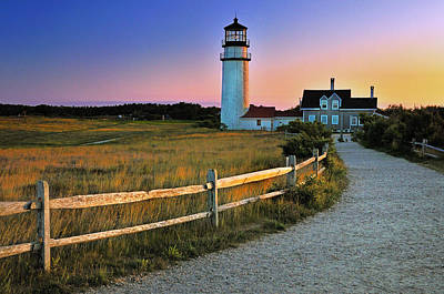 Dusk At Cape Cod Lighthouse Print by Thomas Schoeller