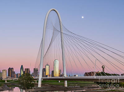 Landmarks Photograph - Dusk At Margaret Hunt Hill Bridge by Tod and Cynthia Grubbs