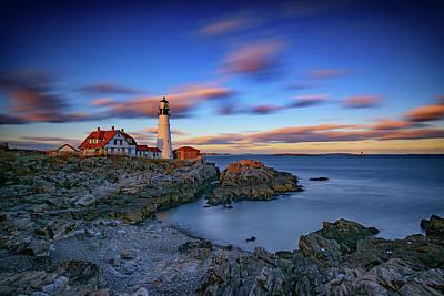 Rugged Coastline Photograph - Dusk At Portland Head Lighthouse by Rick Berk