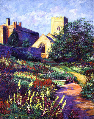 Pathway Painting - Dusk At The Abbey by David Lloyd Glover