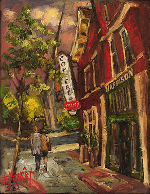 Foodie Painting - Dusk In Downtown by Carole Foret