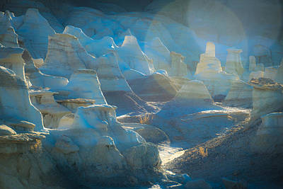 Blue Mudstone Print featuring the photograph Dusk In The Badlands by Veronika Countryman
