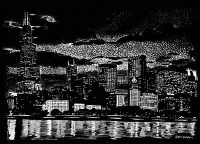 Lake Michigan Drawing - Dusk In The Windy City by Samuel Beckman
