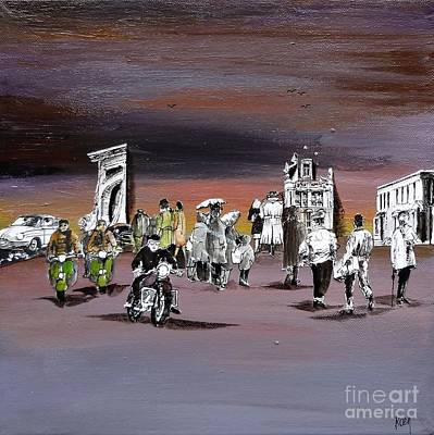 Crowd Scene Mixed Media - Dusk by Koenraad De Weerdt