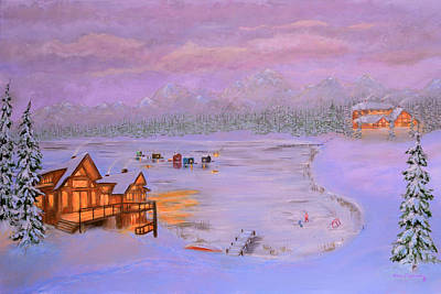 Log Cabin Painting - Dusk Winter Lake by Ken Figurski
