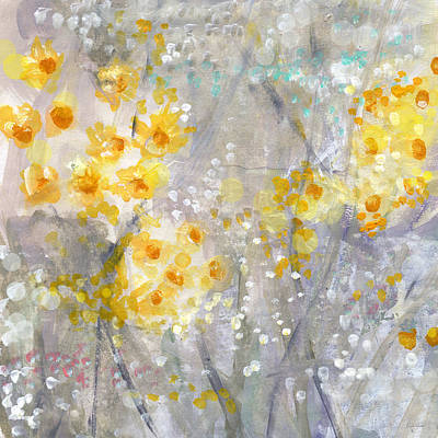 Contemporary Abstract Art Mixed Media - Dusty Miller- Abstract Floral Painting by Linda Woods