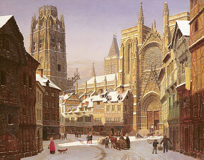 Dutch Cathedral Town Print by Heinrich Hansen