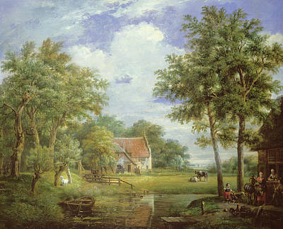 Bucolic Scenes Painting - Dutch Farm Scene by Carel Lodewijk Hansen