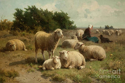 Lambing Painting - Dutch Landscape With Shepherdess by Cornelis van Leemputten