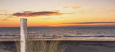 Abstract Beach Landscape Digital Art - Dutch Sunset Painting by Alex Hiemstra
